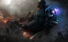 Картинка фантастика, опасность, графика, ребенок, солдат, автомат, рисованные, перестрелка, выживание, кибер-панк