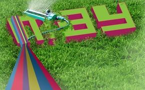 Картинка газон, весна, Трава, типографика, поливалка, май