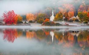 Обои NH, Eaton, осень, озеро, туман