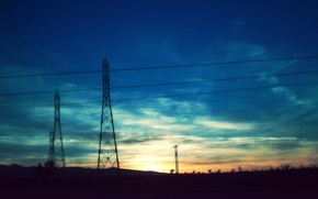 Картинка закат, провода, вечер
