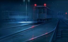 Обои дорога, ночь, рисунок, вагон, Железная