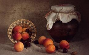 Картинка лето, фрукты, натюрморт, черешня, абрикосы, крынка