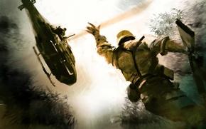 Картинка надежда, война, солдат, вертолет, спасение, помочь