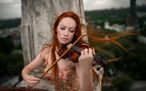 Картинка скрипка, рыжеволосая девушка, Георгий Чернядьев, The music of wind
