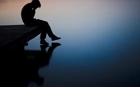 Картинка грусть, река, мальчик, пирс, Парень, депрессия