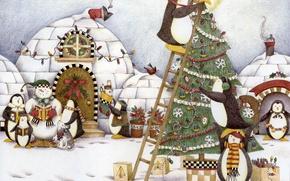 Обои иглу, пингвины, елка, новый год