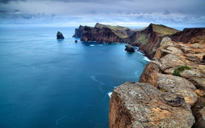 Обои океан, скалы, португалиЯ