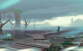 Картинка туман, человек, арт, мостки, нарисованный пейзаж