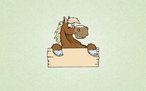 Картинка улыбка, животное, табличка, лошадь, минимализм, светлый фон, копыта