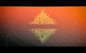 Картинка оранжевый, абстракция, пузыри, фон, обои, минимализм, abstract, красиво, wallpaper, треугольник, background, 1920x1080, 16:9, FULL-HD, широкоформантый