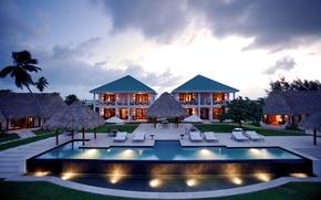 Картинка пальмы, вечер, бассейн, Таиланд, курорт