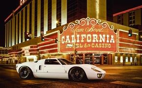 Обои ford, gt40, white, supercar, las vegas, casino