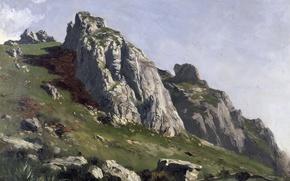 Обои Пикос де Эуропа, картина, скалы, горы, пейзаж, Карлос де Хаэс, камни