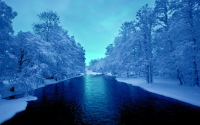 Обои река, небо, снег, Зима, деревья