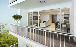 Картинка modern, living room, interior, plant, railings
