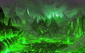 Картинка дракон, фэнтези, арт, зеленое
