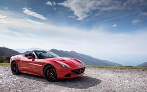 Обои красный, Handing Speciale, red, феррари, California T, автомобиль, Ferrari, car, небо
