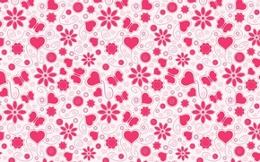 Картинка цветок, фон, бабочка, сердце, вектор, текстура, арт