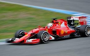 Картинка гонки, болид, автоспорт, Себастьян Феттель, Формула-1, Scuderia Ferrari