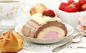 Картинка ягоды, клубника, ложка, мороженое, чашка, сладости, торт, десерт, пирожные, сладкое, профитроли