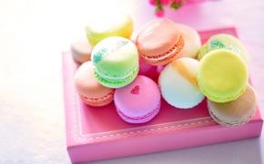 Обои сладости, macaron, макарун, коробка, десерт, разноцветное, печенье