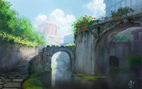 Картинка вода, город, арт, лестница, арка, живопись