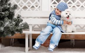 Картинка настроение, собака, дружба, девочка, друзья