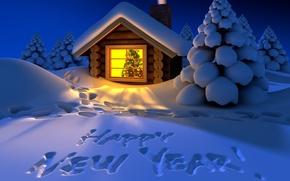 Картинка зима, снег, надпись, вечер, Новый Год, Happy New Year, winter, snow, Holiday, С Новым Годом