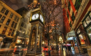 Картинка ночь, город, огни, дождь, часы, дома, канада, ванкувер
