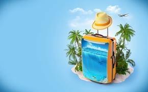 Картинка море, облака, пальмы, креатив, шляпа, дельфины, чемодан, самолёт