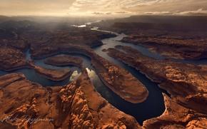Картинка облака, свет, река, каньон, США