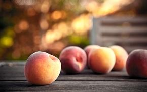 Картинка блики, стол, еда, фрукты, персики, спелые