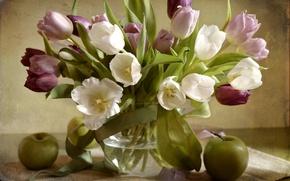 Картинка яблоко, букет, текстура, тюльпаны