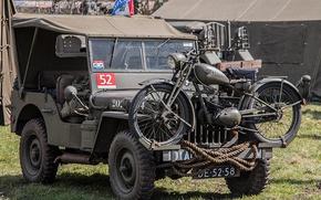"Картинка войны, мотоцикл, автомобиль, армейский, Jeep, мировой, Второй, времён, ""Виллис-МВ"", Willys MB"