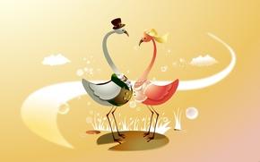 Картинка птицы, настроение, праздник, вектор, арт, невеста, свадьба, жених