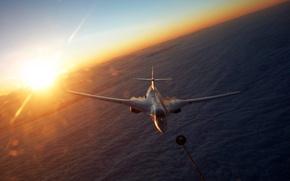 Обои солнце, самолет, облока, шланг для дозаправки в воздухе, Tu-160