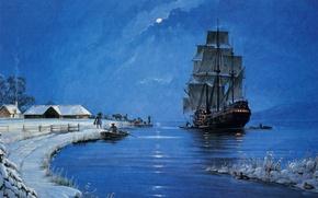 Картинка зима, море, небо, облака, люди, луна, лодка, дым, корабль, утки, парусник, картина, вечер, домик