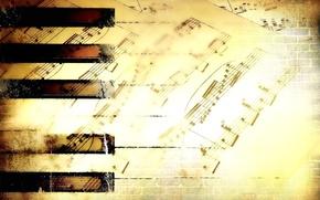 Обои ноты, клавиши, music, обои, музыка