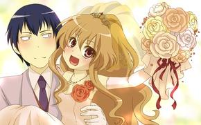Картинка девушка, аниме, арт, парень, двое, Toradora!