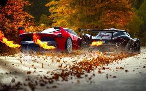 Картинка McLaren, Red, Fire, Black, Ferrari, Exhaust, Supercars, Foliage, FXX K