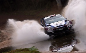 Картинка Ford, Вода, Авто, Спорт, Машина, Скорость, Форд, Гонка, Брызги, WRC, Rally, Fiesta, Передок