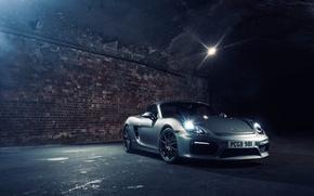 Картинка фары, вечер, Porsche, переулок, Boxster, Spyder