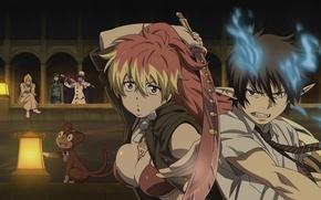 Картинка меч, фонарь, Аниме, anime, Ao no Exorcist, Rin Okumura, синий экзорцист, Kuro, Юкио Окумура, Мефисто, …