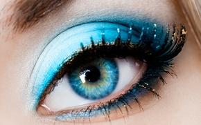 Картинка девушка, макро, глаз, ресницы, макияж, зрачок, тени