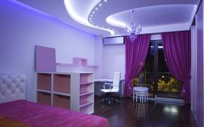 Картинка комната, кресло, окно, люстра, постель, шторы