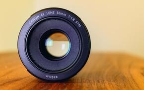 Обои lens, wood, Canon