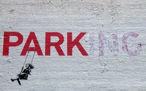 Картинка girl, graffiti, banksy, stencil, park-ing