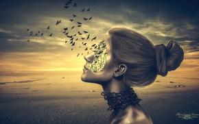 Картинка девушка, птицы, креатив, реклама, полёт, полёт мысли