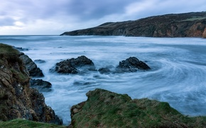 Картинка waves, coast, clouds, rocks, Ocean