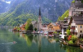 Картинка город, озеро, дома, Австрия, церковь, Austria